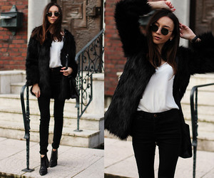 black and white, faux fur, and fashion image