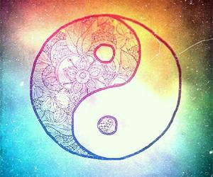 drawing, rainbow, and yin yang image