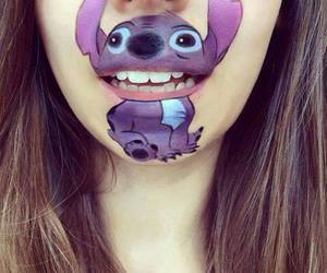 lips, stitch, and art image