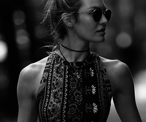 model, candice swanepoel, and black and white image