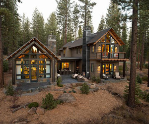 house, rustic, and woods image