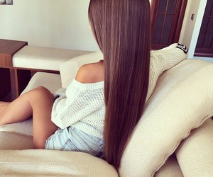 brunette, long hair, and fashion image