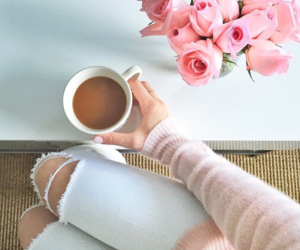 coffee, pink, and flowers image