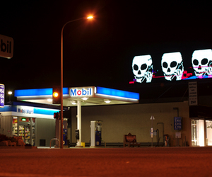 gas station, night, and petrol station image