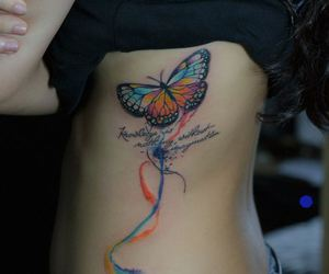 tattoo color, tattoo butterfly, and tattoo letter image