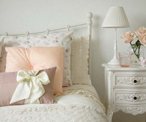 bedroom, bed, and pink image