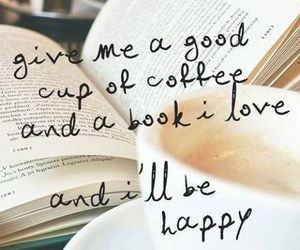 book, coffee, and happy image