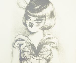 black and white, drawing, and miss van image