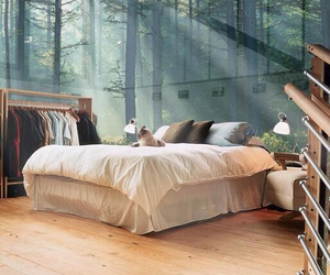 bedroom, bed, and nature image