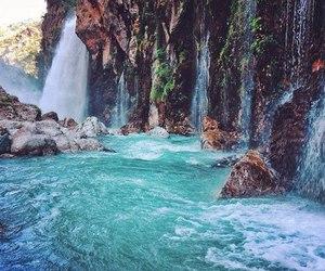 beautiful, blue, and waterfall image