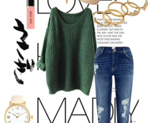 gold, green, and jeans image