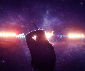 lights, space, and woman image