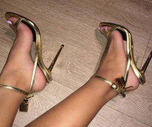 gold, heels, and strappy heels image