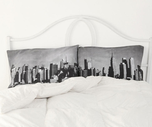 bed, city, and white image