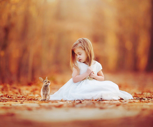 girl, rabbit, and kids image