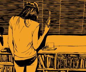 girl, gun, and art image
