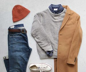 all stars, jeans, and camel coat image