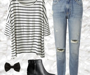 black and white, boots, and bow image