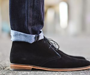 jeans, rolled up, and black dessert boots image
