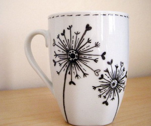 black and white, cup, and design image