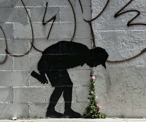 art, flowers, and graffiti image
