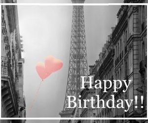 balloons, eiffel, and happy birthday image