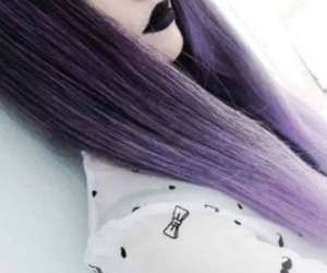hair, purple, and black image