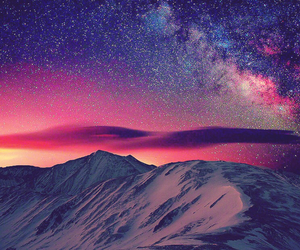 mountains, stars, and sky image