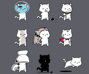 cat, drawing, and emoticon image