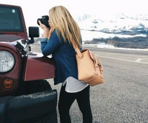 bag, blonde, and jeep image
