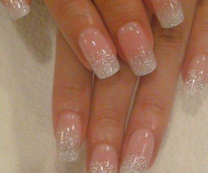 french, nails, and glitter image