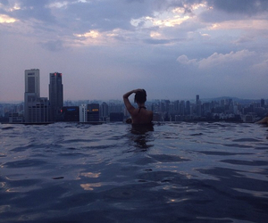 city, pool, and water image