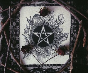 rose, witchcraft, and pentagram image