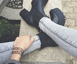 black, chunky boots, and fashion image