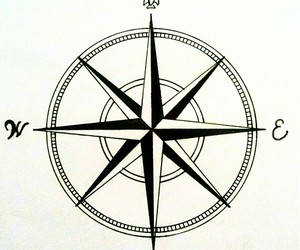 black n white, draw, and compass rose image