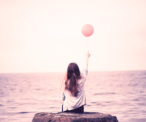 girl, balloons, and sea image