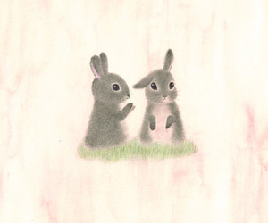 bunnies, drawing, and cute image