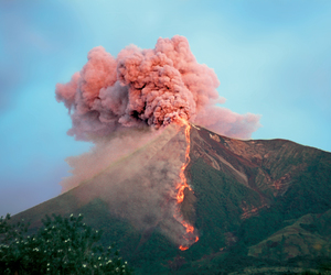 volcano, nature, and pink image