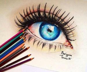 art, eye, and blue image