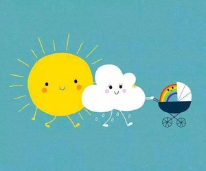 sun, rainbow, and clouds image