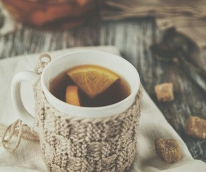 cup, winter, and lemon image