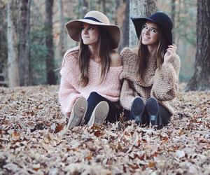 hat, fall, and sisters image