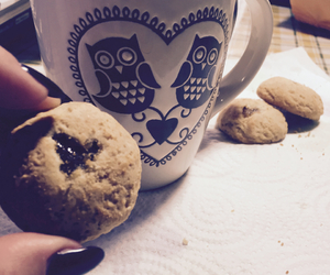 cookie, cup of tea, and hearts image
