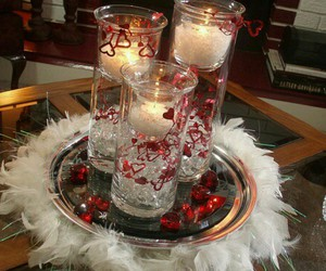 candles, table, and centerpieces image