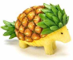 fruit, pineapple, and hedgehog image