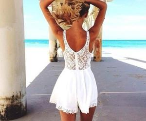 beach and white laced dress image