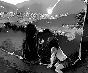black and white, girls, and scenery image