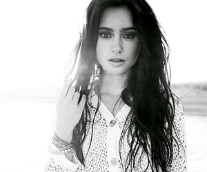 lily collins and black and white image