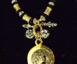 bling, necklace, and gold image
