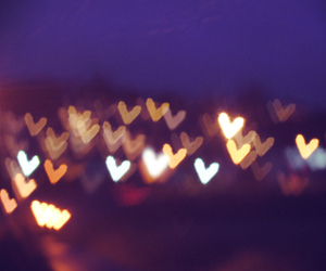 bokeh, heart, and night image